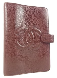 Chanel Authentic CHANEL Notebook Cover CC Logos Caviar Skin Leather 6 Rings F/S 8588eRN