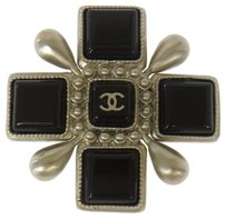 Chanel Authentic CHANEL Vintage CC Logos Brooch Pin Corsage Silver Accessories M08558