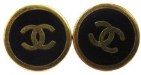 Chanel Authentic CHANEL Vintage CC Logos Button Earrings Gold Clip-On France LP12270