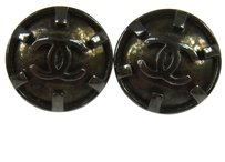 Chanel Authentic CHANEL Vintage CC Logos Button Earrings Silver Clip-On France LP12691