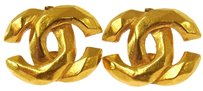 Chanel Authentic CHANEL Vintage CC Logos Earrings Gold-Tone Clip-On Accessories JT02152