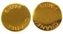 Chanel Authentic CHANEL Vintage CC Logos Gold Button Earrings Clip-On 98P France W24986