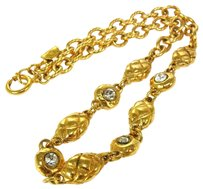 Chanel Authentic CHANEL Vintage CC Logos Gold Chain Rhinestone Necklace France LP10395