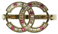Chanel Authentic CHANEL Vintage CC Logos Rhinestone Bangle Gold-Tone 05P France LP04340