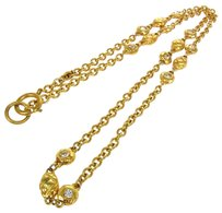 Chanel Authentic CHANEL Vintage CC Logos Rhinestone Gold Chain Necklace France LP10578