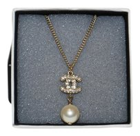 Chanel Authentic Chanel White Pearl Gold CC Necklace