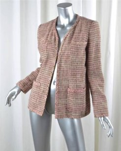 Chanel 03p Womens Linen Cotton Plaid Tweed Open Blazer 386 Brown Jacket