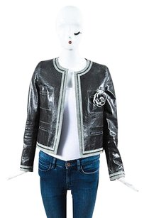 Chanel Leather Two Tone Gray Jacket