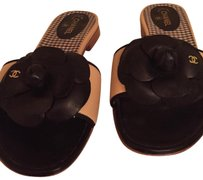 Chanel Beige and Black Sandals