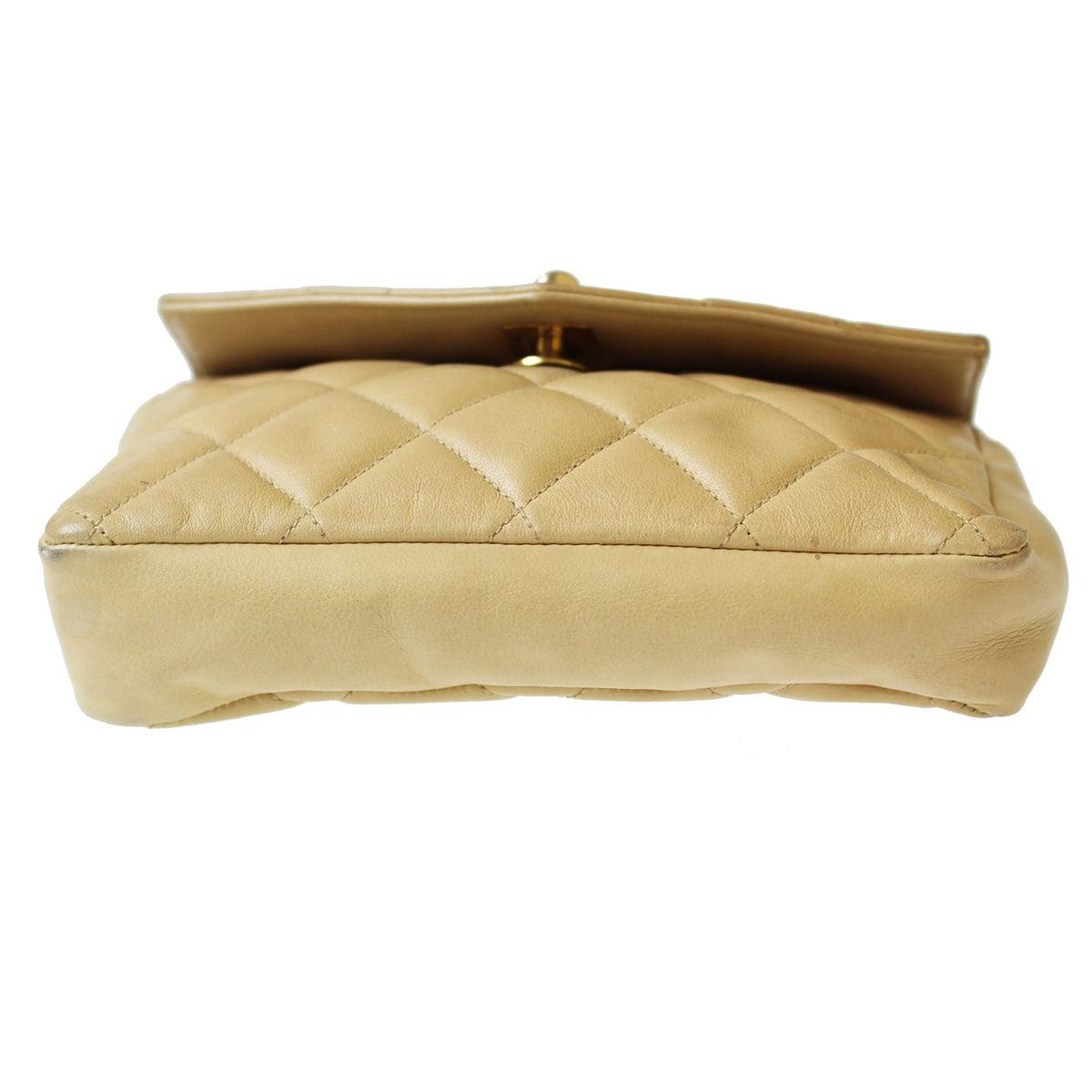 chanel vintage lambskin flap waist belt beige travel bag