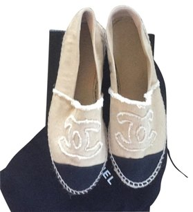 Chanel Espadrille Canvas Black and tan Flats