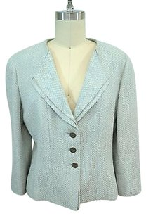Chanel Wool Tweed Button Blazer Blue/ Cream Jacket