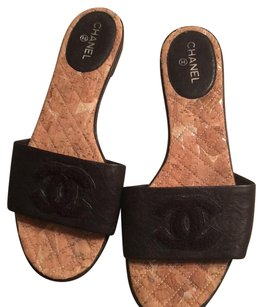 Chanel Blk Slides Black Sandals
