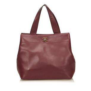 Chanel Bordeau Lambskin Leather Leather 6achto002 Tote