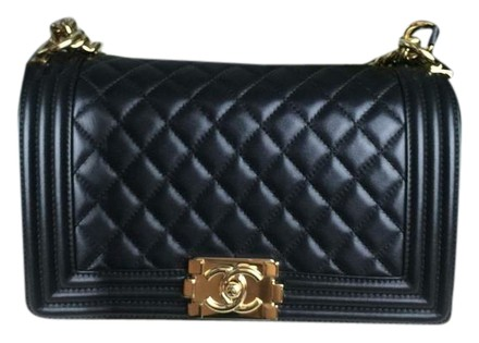 Chanel Boy Old Medium With Gold Hardware Pearly Black
