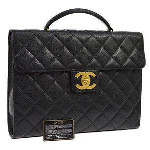 Chanel Briefcase Hand Leather Black Messenger Bag