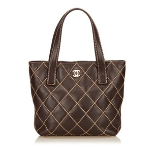 Chanel Brown Leather 6gchto002 Tote