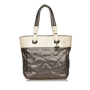 Chanel Canvas Fabric Gray Tote