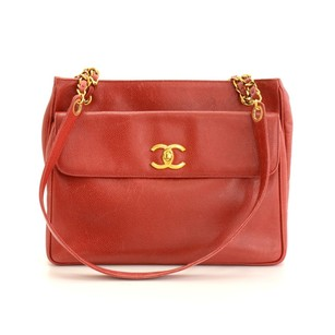 Chanel Caviar Leather Tote in Red