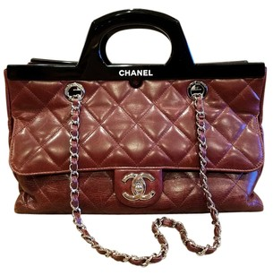 Chanel Cc Delivery Calfskin Satchel in Burgundy