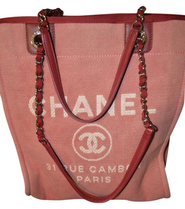 chanel deauville tote. chanel cc gold hardware coco tote in pink/red deauville