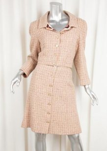 Chanel Chanel 01a Pink Multi Wool Tweed Long-sleeve Jacketpencil Skirt Suit 408
