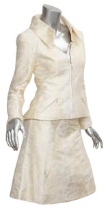 Chanel Chanel 01p Womens Cream Cottonsilk Jaquard Blazera-line Skirt Suit Outfit