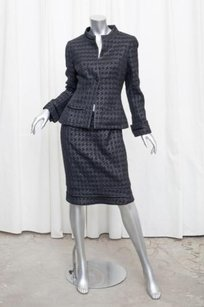 Chanel Chanel 05p Womens Black Jacket Houndstooth Tweed Blazerskirt Suit 408