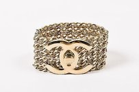 Chanel Chanel 12p Gold Tone Multistrand Cc Turn Lock Bracelet