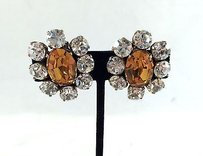 Chanel Chanel 1984 Vintage Clear Brown Floral Crystal Clip-on Earrings
