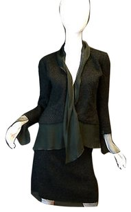 Chanel Chanel Black Boucle Skirt Suit Wsheer Silk Scarf Detail 00t