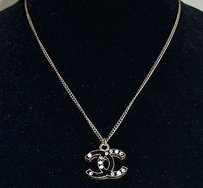 Chanel Chanel Black Glitter Enamel Pearl Detail Cc Logo Necklace