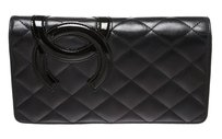 Chanel Chanel Black Lambskin Leather CC Cambon Bi-Fold Wallet