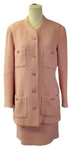 Chanel CHANEL BOUTIQUE Pink Tweed Boucle Wool Sequins Skirt Suit