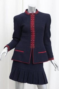Chanel Chanel Boutique Womens Vintage Navyred Trim Jacket Boucle Skirt Suit 386