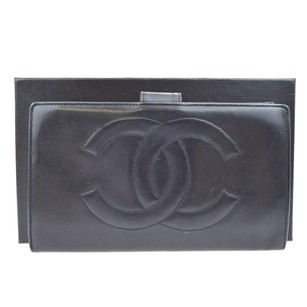 Chanel CHANEL CC Logos Long Bifold Leather Wallet Purse
