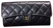 Chanel Chanel Classic Long Flap Wallet Black Caviar Gold Hardware