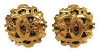 Chanel CHANEL COCO Mark Clip Earrings Metal Gold