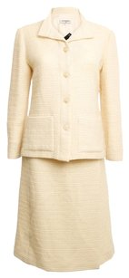 Chanel CHANEL CREAM WOOL SKIRT SUIT SIZE US 12 EUR 46 VINTAGE