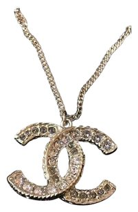 Chanel Chanel Crystal CC Dual Sided Pendant Necklace