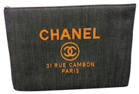 Chanel Chanel Deauville Large O Case Pouch Blue Denim 2017