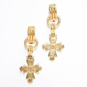 Chanel Chanel Gold Drop Cc Cross Vintage Clip On Earrings