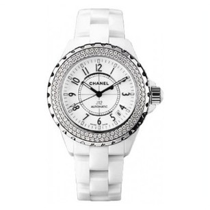 Chanel Chanel J12 38mm Automatic White Ceramic Diamond Bezel Watch H0969