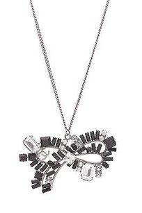 Chanel Chanel Silver-tone Crystal Bow Pendant Necklace