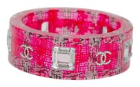 Chanel Chanel Pink Black White Tweed Cystal Logo Plexi Plastic Lucite Bangle Bracelet