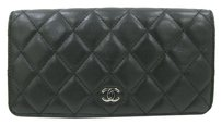 Chanel CHANEL Lambskin Matelasse Long Wallet Bifold Zip Purse Black