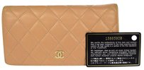 Chanel CHANEL Long Bifold Wallet Leather Beige
