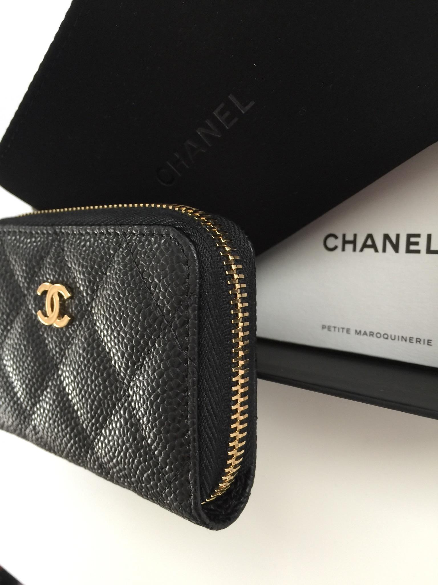 chanel zip coin purse. chanel o\u0027 coin purse gold in black caviar zip o