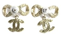 Chanel Chanel Signature Bow Earrings Gold Crystal 2011 Cruise Collection