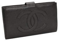 Chanel CHANEL Soft Caviar Skin Bifold Long Wallet Leather